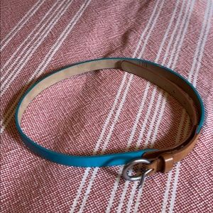 "Gap turquoise and tan skinny belt 37"" length"